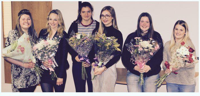 (L-R) Emily, Georgia, Amber, Megan, Amelia and Ellie at their film premiere evening
